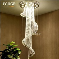 Modern Crystal Chandelier Large Size Crystal Chandeliers Spiral Lamp Long Stair Lustres Lighting Fixture for Foyer Hotel Villa