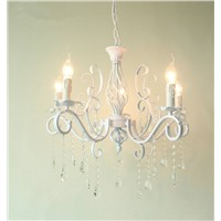 Vintage Wrought Iron Crystal Chandelier White Ceiling lamp E14 Candle Lights Lighting Fixture