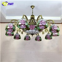 FUMAT Stained Glass Chandelier European Vintage Glass Suspension Light Bar Cafe Living Room Hanging Lamp Pendientes Lustre