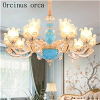 European luxury crystal jade chandelier duplex villa living room dining room bedroom French garden alloy Chandelier