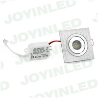 High quality Dimmable 3W 1*3w square Brush silver mini led downlight