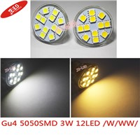 freeshipping! 2pcs MR11  DC12V 2.5W 12 SMD 5050 LED Spotlight G4 Base Home Office Display White Warm white bulb