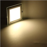 LED Panel Downlight Square Glass Cover Lights High Bright Ceiling Recessed Lamps AC85-265 + Driver