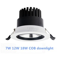 7W 12W 18W Dimmable LED Downlight AC85-265V COB LED DownLights COB Spot Recessed Down light Light Bulb