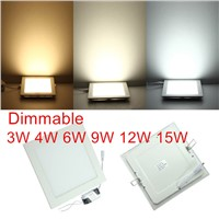 3W/6W/9W/12W/15W/25W dimmable LED downlight Square LED panel Ceiling Recessed Light bulb lamp AC85-265V smd2835