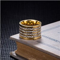 ZORCVENS 2017 New Brand 4 Row Crystal Rhinestone Gold-Color Stainless Steel Couple Wedding Rings for Men and Women