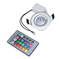 Colorful 3W RGB Downlight AC85-265V Ceiling Spot Light Round Ceiling Recessed Spot w/ Remote Control