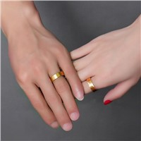 AMOURJOUX Romantic Matte Gold Color Stainless Steel Wedding Ring For Men Women Fashion Wedding Engagement Lovers' Ring