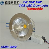 New Dimmable 7W 10W15W COB LED Ceiling Downlight Silver Color Recessed LED Lamp For Home Lighting Decorate