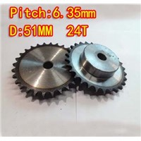 24T D:51mm  Precision 45 steel quenching sprocket  chain wheel M5 standard screw  -pitch 6.35 hole8mm