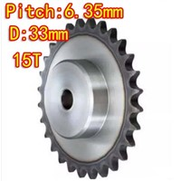 Diameter:33mm 25H /45steel-15Teeths  precision small chain wheel M5 standard screw hole  --Pitch: 6.35MM- hole d:6mm
