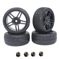 4Pcs/lot RC Tires Wheels 26mm Hex 12mm With Nylon Lock Nut M4 for 1/10 On Road Car HSP HPI Himoto Redcat Tamiya Racing