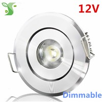 Dimmable 1W led lamp ceiling light 12V down light spot led white/black/silver color with driver