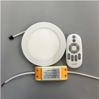 LED2.4G remote control color temperature dimming panel lights 9W LED Downlight with adapter 85-265V indoor Light DHL free 10pcs
