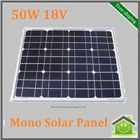 Monocrystalline Silicon Solar Panel 50W 18V for 12V Solar System, Photovoltaic Panel, Solar Module For Car, RV,Camping,Boat
