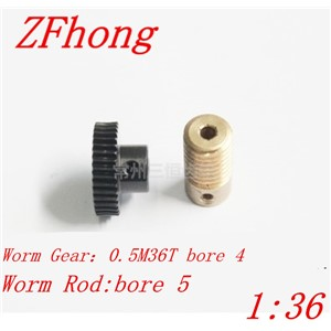 1 sets 0.5M36T 1:36 worm gear , gear hole 4mm rod hole 5mm