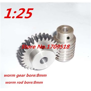 1 sets 1M25t  25 teeth 1:25  worm gear reduction ratio:1:25 worm rod bore 8mm