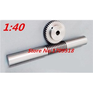 1 sets 1M40t  40 teeth worm gear reduction ratio:1:40 worm rod length 140mm