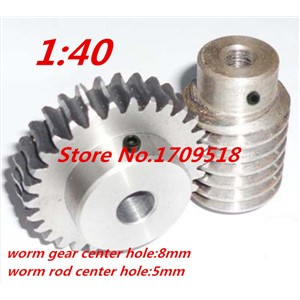 1 sets 1M40t  40 teeth steel worm gear reduction ratio:1:40 worm rod bore size 5mm