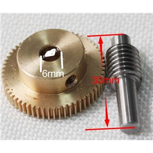 0.5M-60Teeths   Gear Diameter:31.2mm  Hole:6mm  Rod L:33MM  Stainless Steel Worm Gear