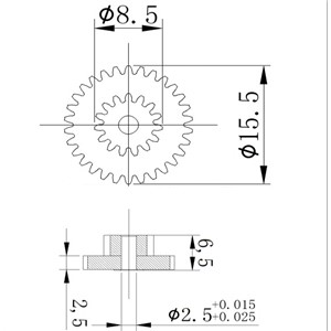 0.5M Duplex Motor Gear,metal JGY-370,37 reduction gearbox gear (0.5M30T*0.515T*6.5H) Powder metallurgy gear