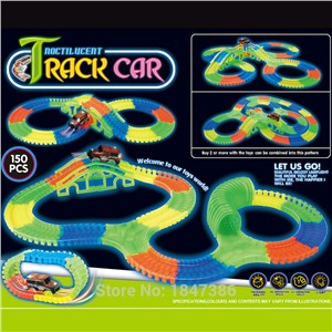 150PCS Slot DIY Diecast Flashing glow race track Bend Flex Roller Luminous glowing electric race track with  LED light up car