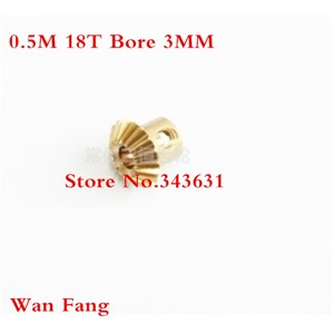 2PCS Bevel Gear  18T 0.5 Mod M=0.5 Modulus Ratio 1:1 Bore 3mm Brass Right Angle Transmission parts machine parts DIY