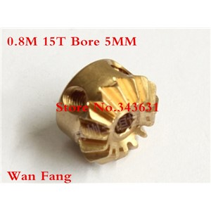 2PCS 0.8M15T  Bevel Gear  0.8 Mod M=0.8 Modulus Ratio 1:1 Bore 5mm Brass Right Angle Transmission parts machine parts DIY
