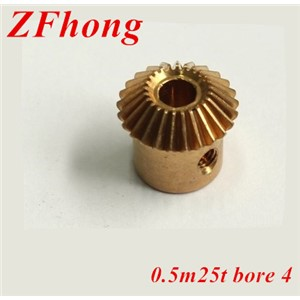 2pcs 0.5m25t  25 teeth 4mm bore brass Bevel Gears  Module 0.5
