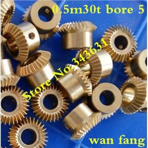2PCS 0.5M30T  Bevel Gear  0.5 Mod M=0.5 Modulus Ratio 1:1 Bore 5mm Brass Right Angle Transmission parts machine parts DIY