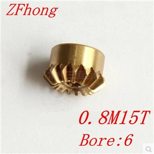 2pcs 0.8M15T brass Bevel Gears Module=0.8 Teeth=15  bore=6mm