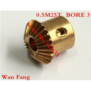 2PCS Bevel Gear  25T 0.5 Mod M=0.5 Modulus Ratio 1:1 Bore 3mm Brass Right Angle Transmission parts machine parts DIY