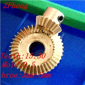 A pair 1:2 brass Bevel Gear Brass Right Angle Transmission parts machine parts DIY