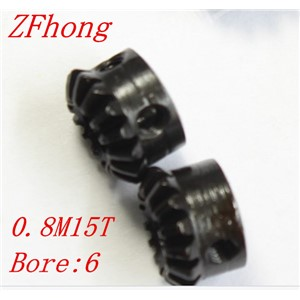 2pcs 0.8M15T Steel Bevel Gears Module=0.8 Teeth=15  bore=6mm
