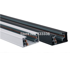 3 wire LED Track lighting rail 1m- white and black color - Universal 3 wire aluminum rails track free ship 8pcs