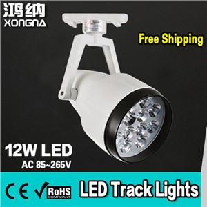 Free Shipping, AC85~265V High Power 12W Commercial LED Track Lighting, Warm White 3000K / Neutral White 4300K / Cold White 6500K