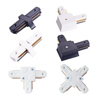 I L T cross shape LED spot light track connector rail connector 2 line wires track adapter track linker white and black color