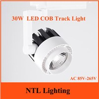 New 30W COB LED Track light AC 85V-265V integration lights energy savinig lamp for store shopping mall 2 Rail lighting Freeship