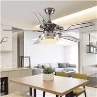 42 Inch stainless steel ceiling fan LED lamp 4 leaves modern ceiling fan with 18W led ceiling lamp 110V/220V Wireless control