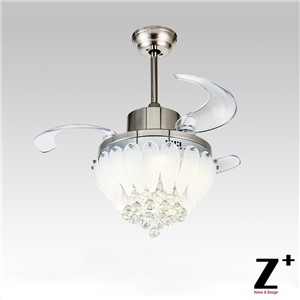 "American modern Style Led lights Lotus 3 Collapsible fan Crystal Chandelier with Remote Control 32"" lamp Free shipping"