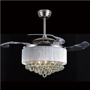 LED ceiling fan light dining room Ceiling fan crystal invisible  led minimalist telescopic Fashion luxury wall control ZA