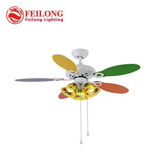 "KID ROOMS American Country Ceiling Fan 4202 FIVE COLORFUL Blades Led Bulbs Ceiling lamp CHILDREN Led STAR Fan lamp 42"" 3 lights"
