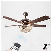 "American Country Style Led lights fan Crystal Chandelier with Remote Control 52"" lamp Free shipping"