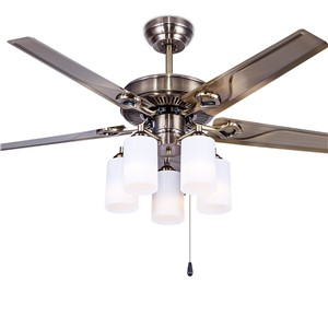 Ceiling fan European style retro iron leaf dining room bedroom ceiling fan light lamp household FS12