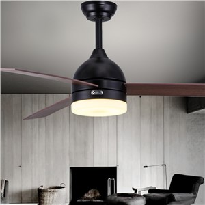 Black and white leaf fan lights 48 Inch dining room ceiling fan lamp remote control LED lamp fan mail package library