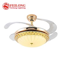 Simple Golden Ceiling Fan Y4215 LED Ceiling Fan With Light Hidden Blades Home Fan Light