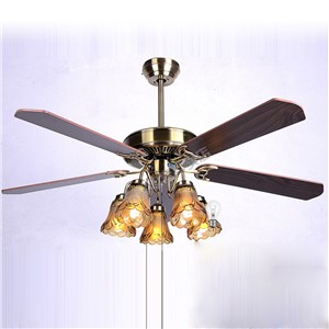 "Luxury European Vintage 52"" Ceiling Fan Lamp with 5 paddles and 5 Glass lamps 3 Speeds Dining Room Ceiling Fan Light"