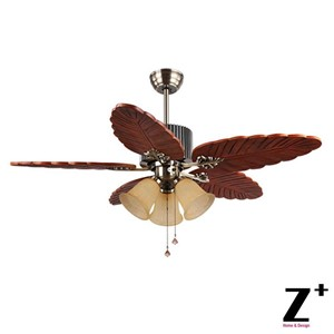 "Southeast Asia Country Style Led lights Ceiling wood leaf-shape Fan 48"" lamp Lighting Free shipping"