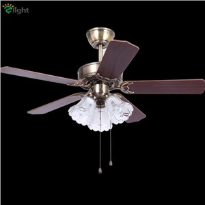 Retro Wood/Metal Leaf Led Ceiling Fans Lamp Lustre Bronze Glass Dining Room Led Ceiling Fan Lighting Simple Ceiling Fan Lights