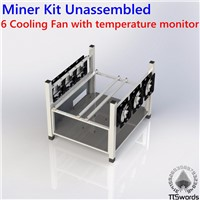 Open Air 6 GPU  Mining Case Computer full tower ETH Miner Frame Rig 6x Fan & Temp Monitor bitcon Miner Kit Unassembled